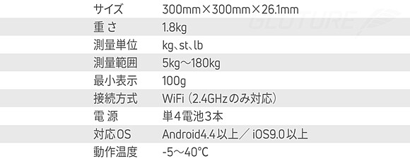 サイズ:300mm×300mm×26.1mm 重さ:1.8kg 測量単位:kg、st、lb 測量範囲:5kg〜180kg 最小表示:100g 電源:単4電池3本 対応OS:Android4.4以上/iOS9.0以上
